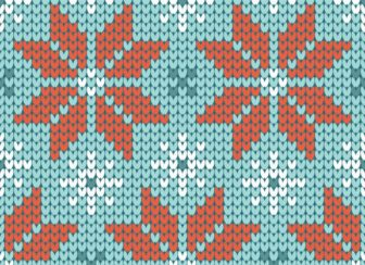 Seamless Pattern Knitted Poinsettia Retro